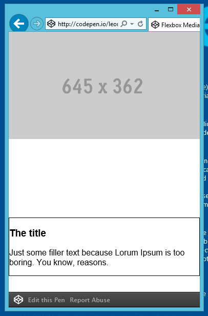 IE11 with wrapper div