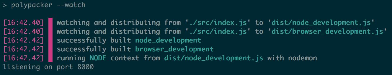 example terminal output