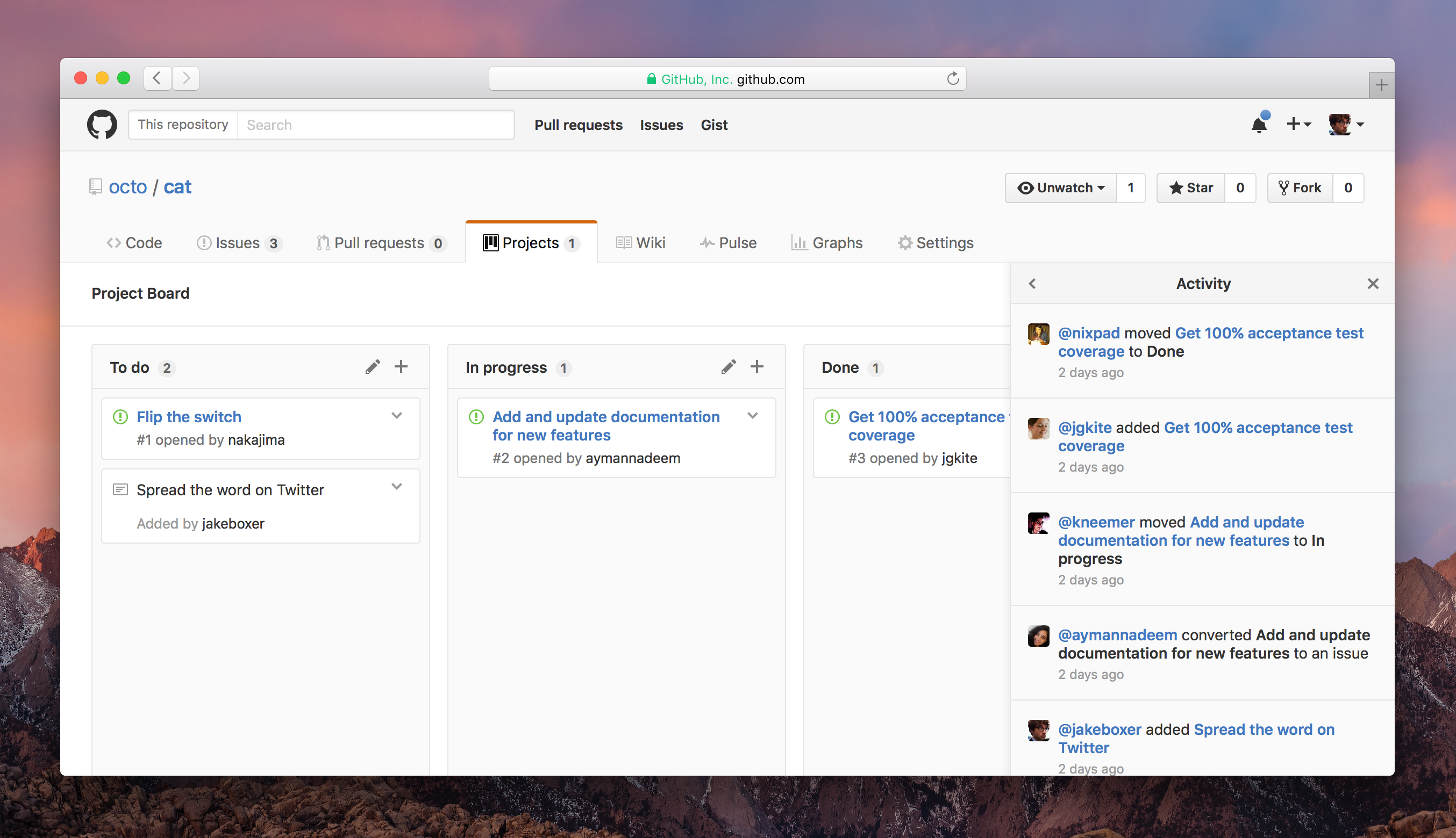 Screenshot of the Project Activity view