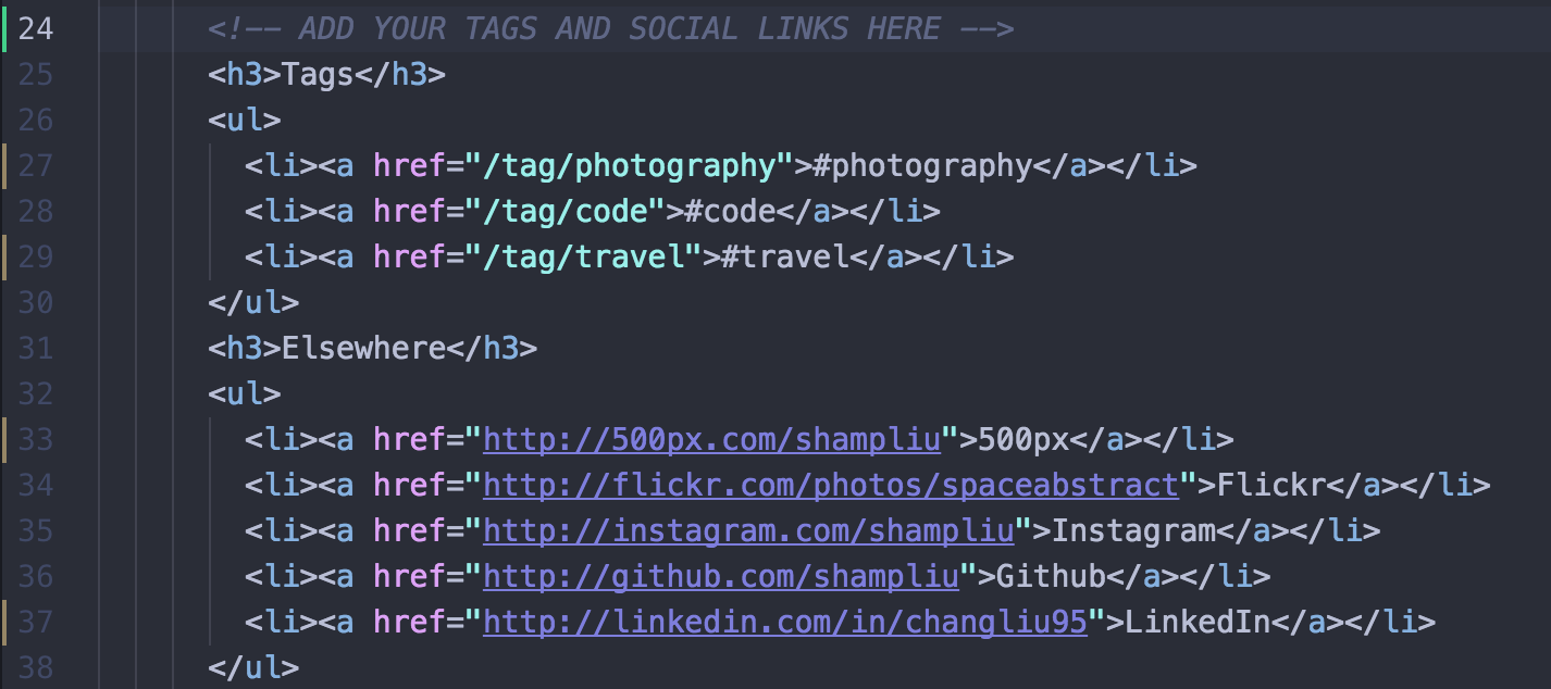 Edit Code to Add Links