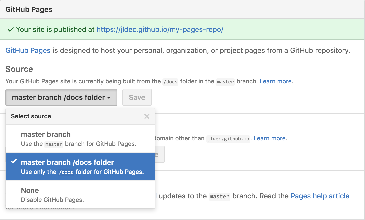 Screenshot of Repository Settings - GitHub Pages - Source