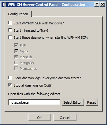 WPN-XM Server Control Panel - Configuration - v0.8.0