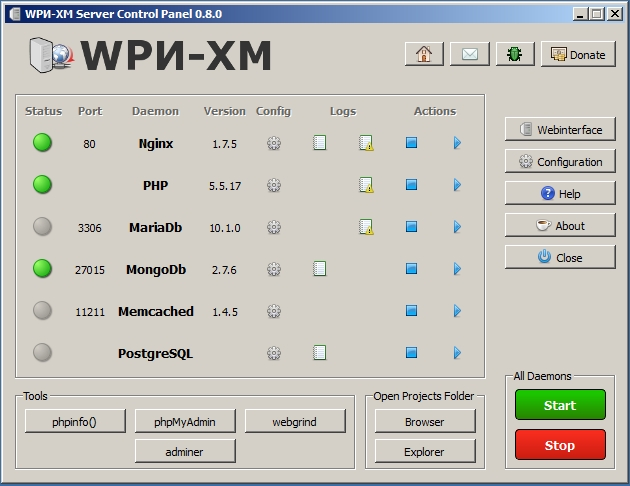 WPN-XM Server Control Panel v0.8.0 - Main Application Window
