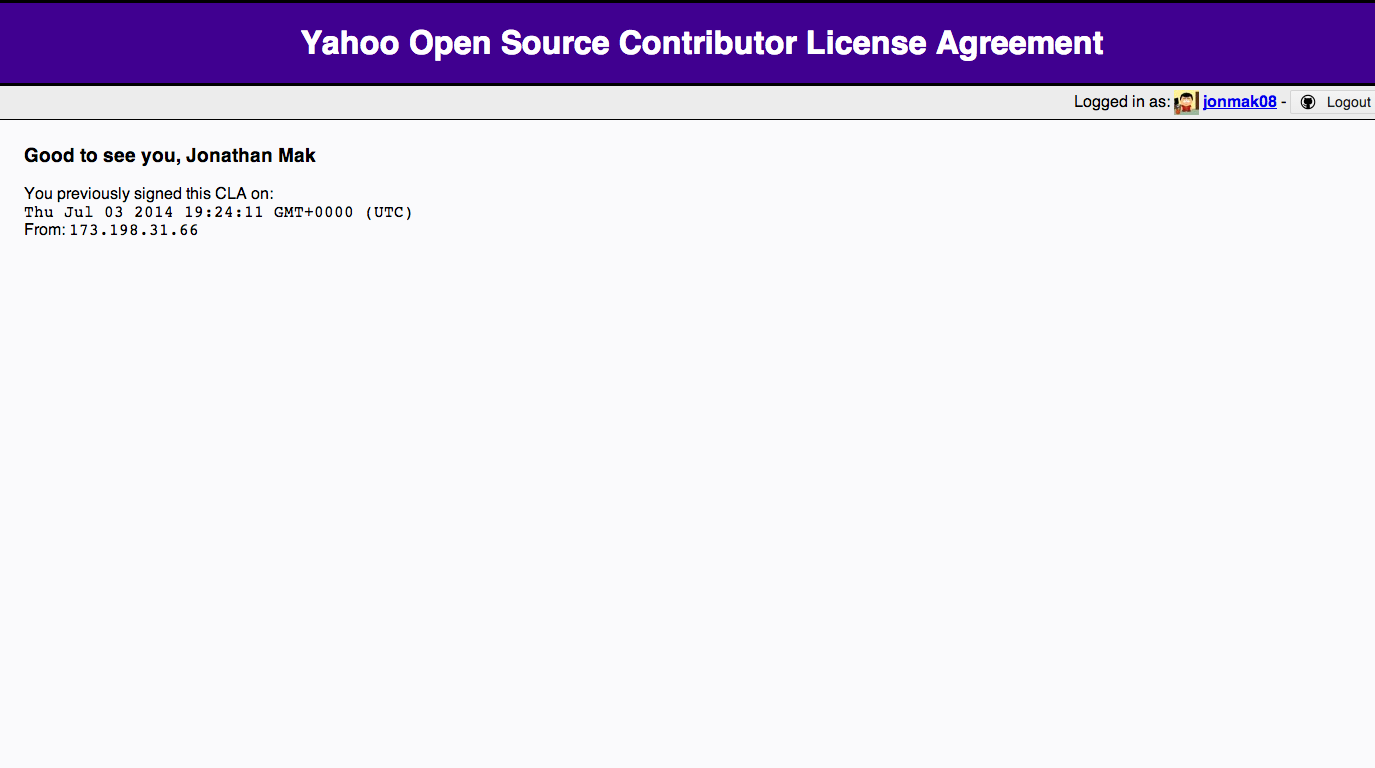 yahoo open source contributor license agreement
