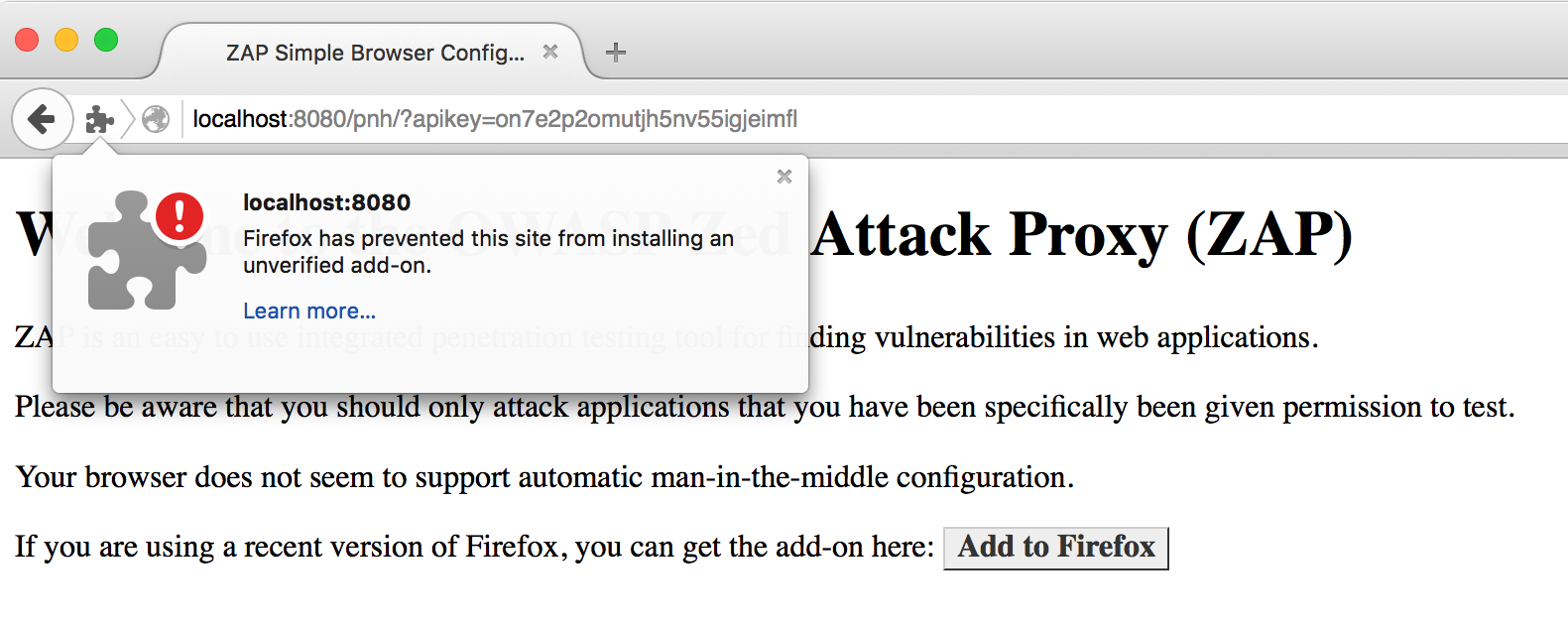 Firefox has prevented this site from installing an unverified add-on