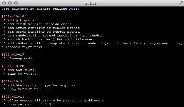 Screenshot of script's output