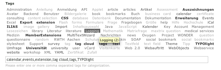 tag input field in the Contao backend