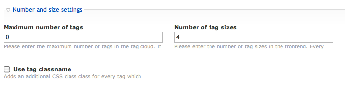 Number and size settings of the tag cloud module