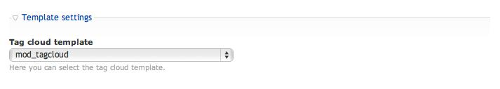 Tag cloud template settings