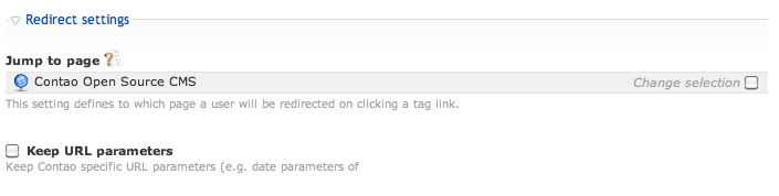 Redirect settings of the tag cloud module