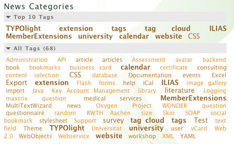 Frontend output of a tag cloud and top ten tags