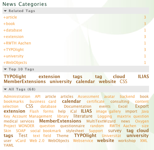 Frontend output of a tag cloud, top ten tags, and related tags