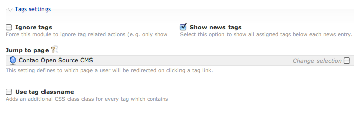 Tags settings for news objects