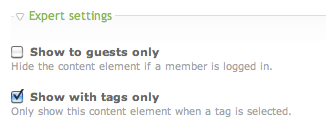 Checkbox 'Show with tags only' in the heading content element