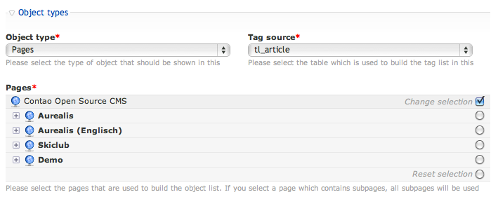 Tag object list settings