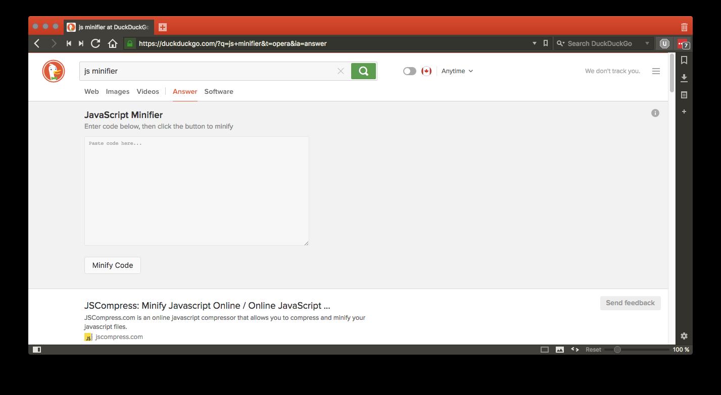 javascript minifier search