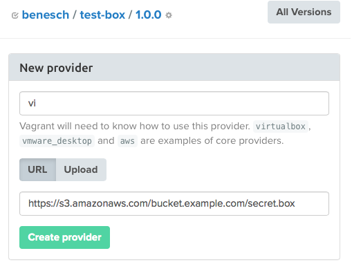 Adding a S3 box to Vagrant Cloud