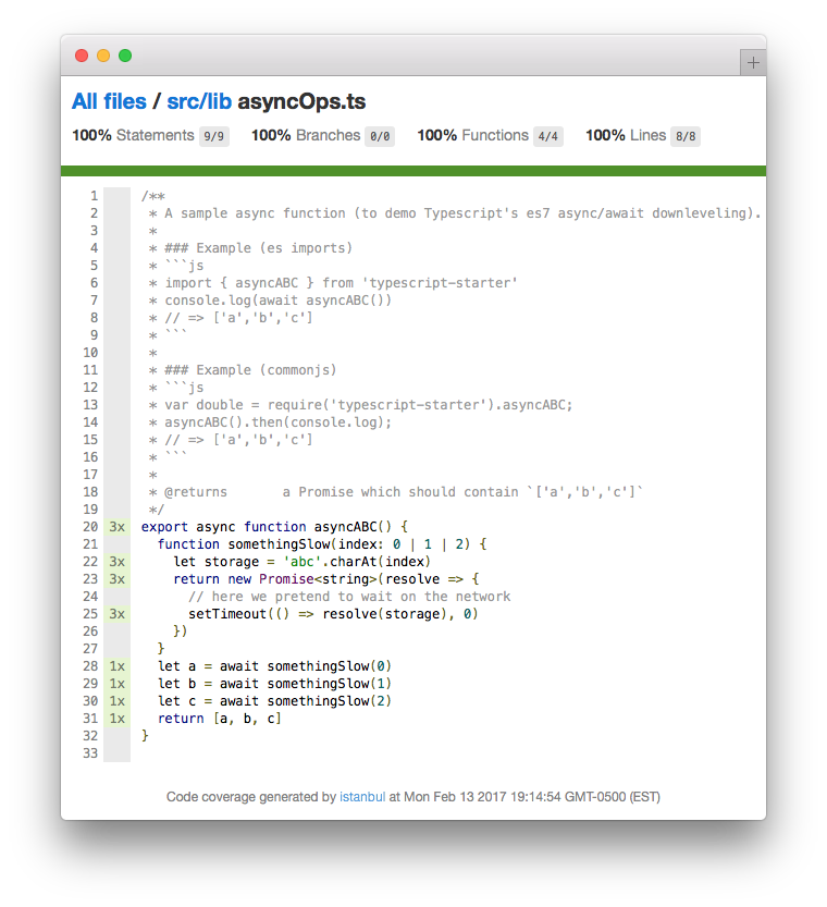 source-mapped typescript test coverage example