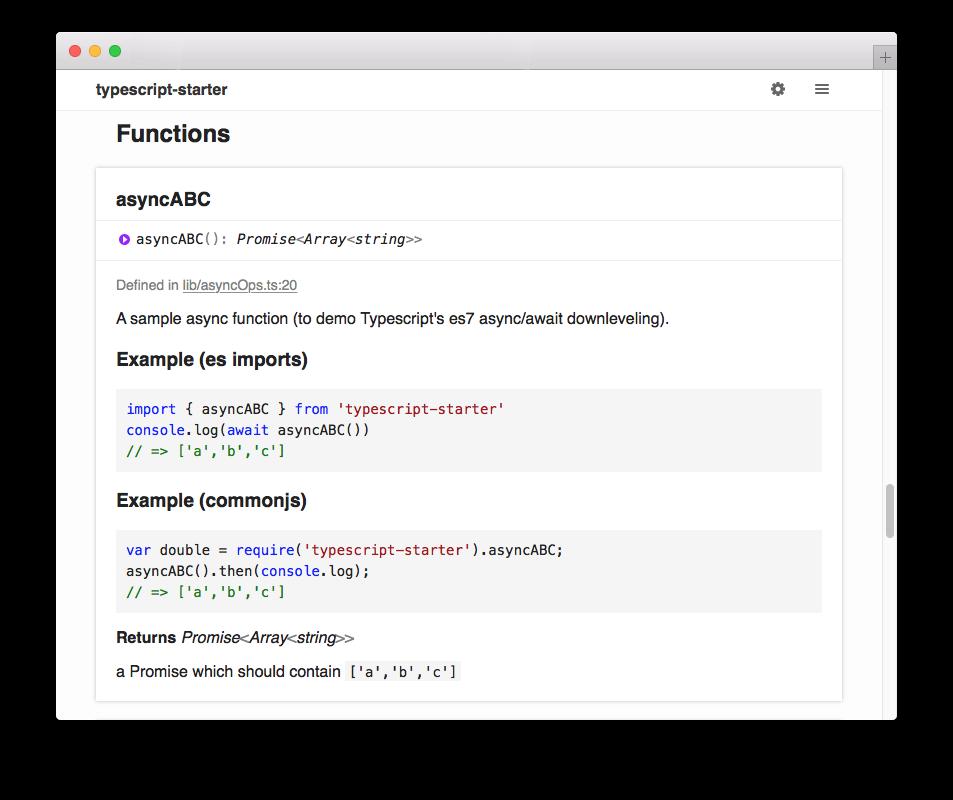 TypeDoc documentation example