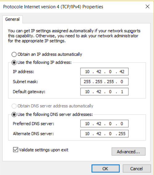 set up a static ip ethernet connection on windows