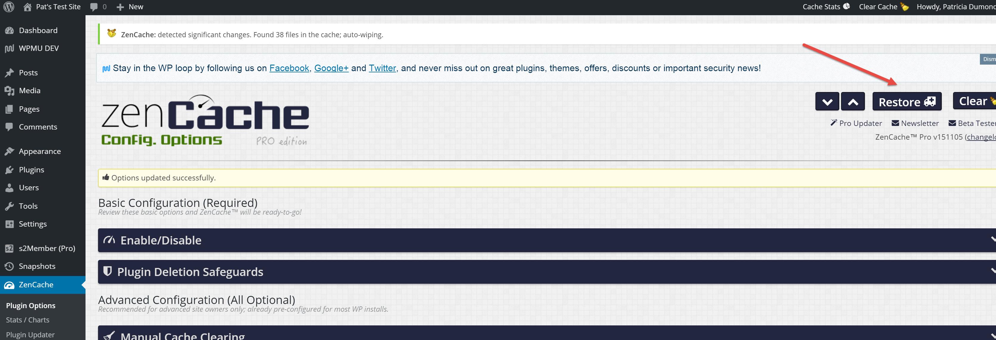 ZenCache Options Page - Restore Button Location