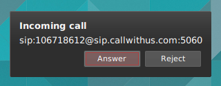 An incoming call notification (xfce4-notifyd)
