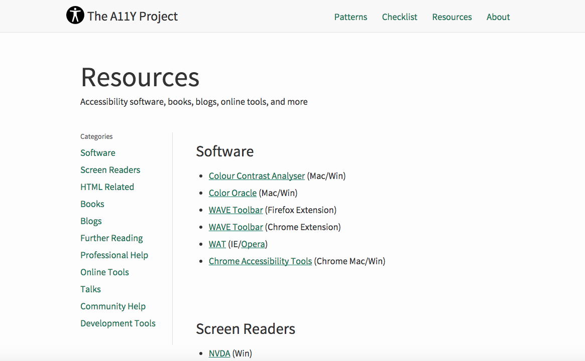 resources page layout on desktop
