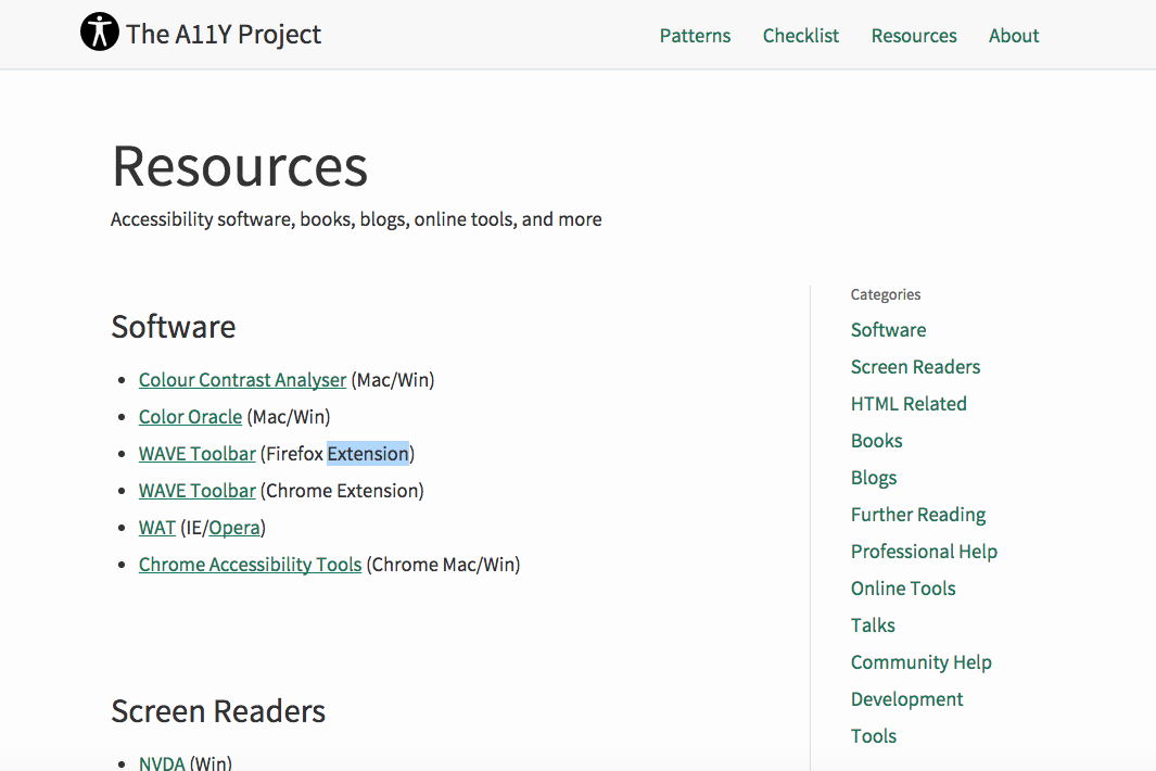 Resources page category sidebar right