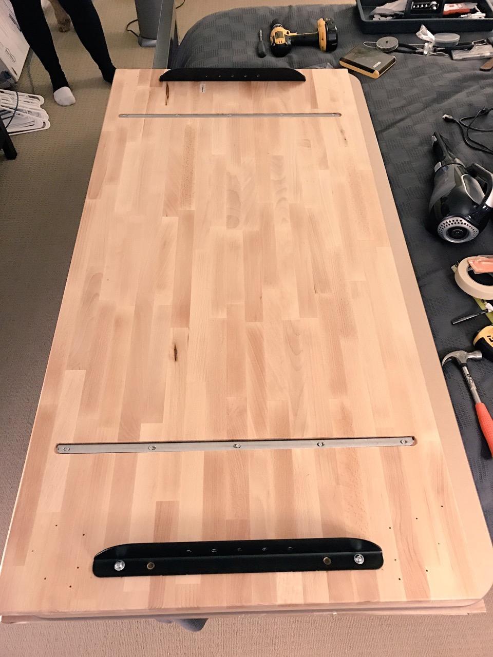in progress attaching rails