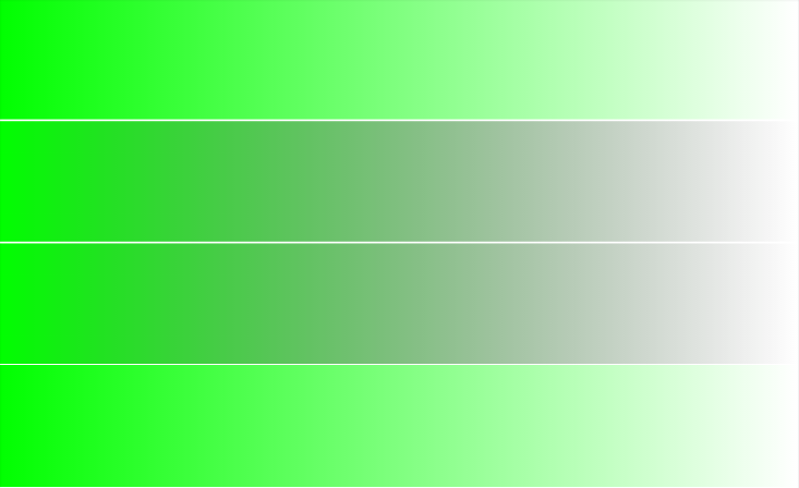 4 gradients, top and bottom transition evenly from lime to transparent on white, 2nd and 3rd also transition from lime to white but via a dark gray